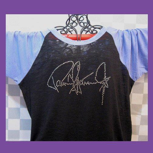 Paul Stanley Autograph Signature KISS! Bling Rhinestone Embellished T-shirt, Free Shipping