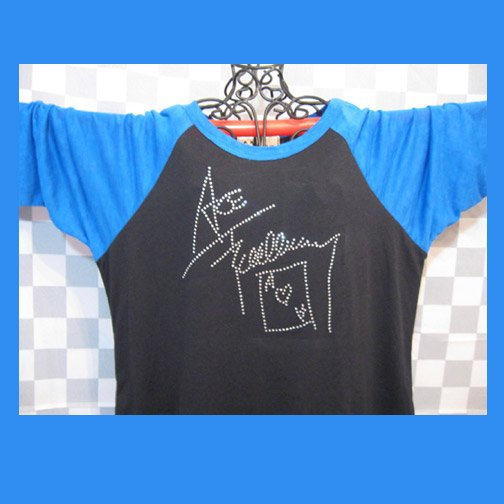 Ace Frehley Autograph Signature KISS! Bling Rhinestone Embellished T-shirt, Free Shipping