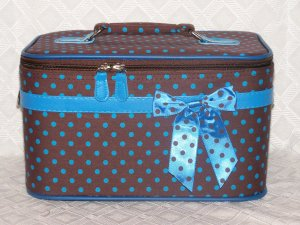 Large Brown / Blue Dot Cosmetic Case