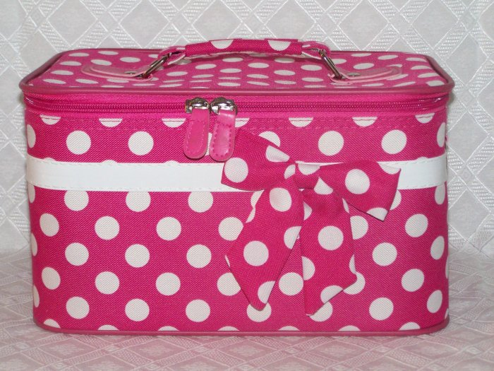 Large Fushia / White Dot Cosmetic Case