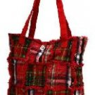 Red Quilted Ragged Patch Handbag