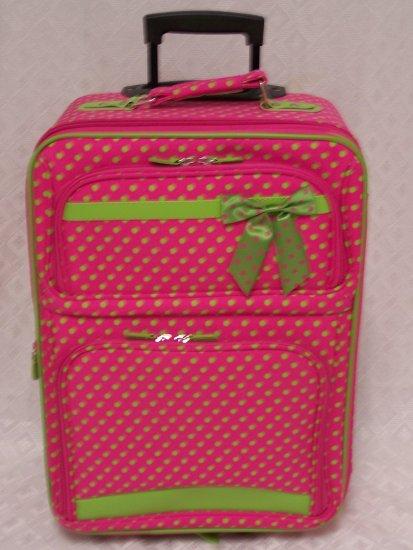 Small Fushia/Green Dot Rolling Suitcase