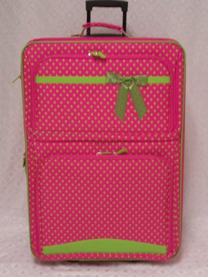 Large Fushia/Green Dot Rolling Suitcase