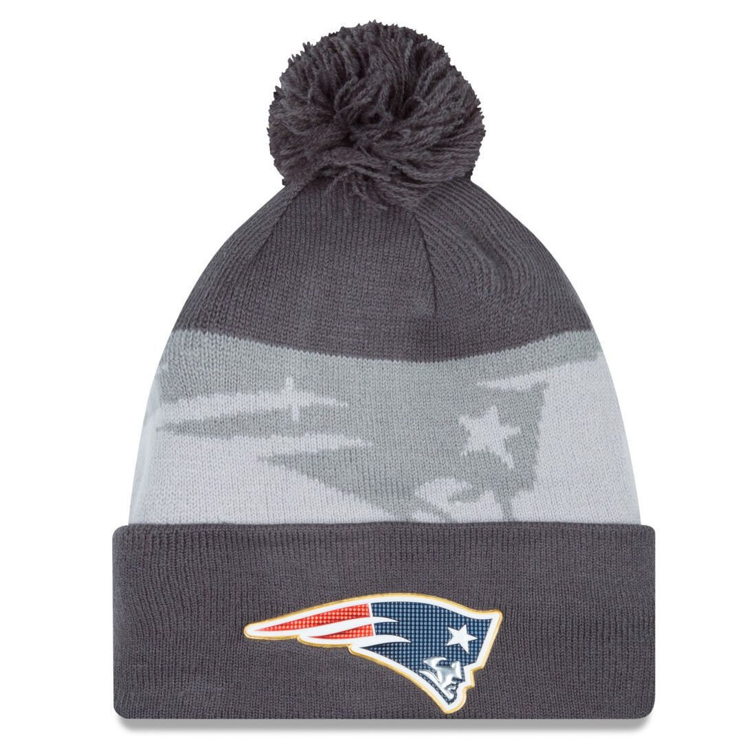 NEW ENGLAND PATRIOTS NFL NEW ERA GOLD COLLECTION BEANIE KNIT HAT CAP - GRAY