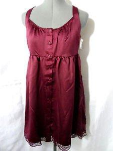New XHILARATION Boho Mini Dress womens XS,S Burgundy Lace trim Country western