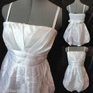 New POETRY Metallic Pleated Bubble Dress womens M White mini Empire Formal Prom