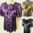 Nwt MINUET Satin Ruffle front Blouse womens S Gold Black Plum tuxedo Shimmer