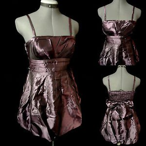 New POETRY Metallic Pleated Bubble Dress womens S Purple mini Empire Formal Prom