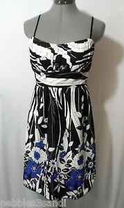 RUBY ROX Rockabilly Sun Dress women 5 SM White Black Floral empire Wedding Party