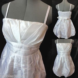 New POETRY Metallic Pleated Bubble Dress womens S White mini Empire Formal Prom