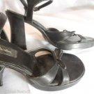 XHILARATION Ankle Strap Platform Heels womens 7 Black Bow detail Chunky summer