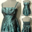 New POETRY Metallic Pleated Bubble Dress womens M Teal mini Empire Formal Prom