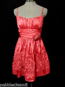 B.DARLIN Formal BallGown Dress womens 3/4 Coral Pink Red ruched Empire prom