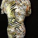 Nwt TRUE LIGHT Drape Dress womens S Leopard Swirl print Green Black Off-shoulder