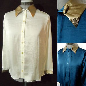 Nwt TEA N ROSE Western Satin Shirt womens SML Blue Ivory Gold button Western LS