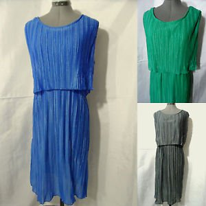 Nwt JON & ANNA Pleated Shimmer Dress womens Blue Mint Black Gray scoop Summer