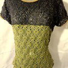 Nwt PRINCESS Crochet Boho sweater Top womens S Blue Green sheer scoop Pointelle