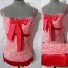 Nwt AI Sexy Pleated Empire waist Summer top womens S M Red floral Lace +bow cami