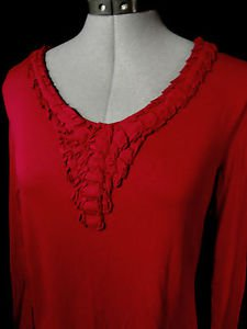 COLDWATER CREEK Fancy Tee shirt Top womens S Red V neck Pleated pintucked front