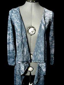 Nwt FASHION USA Tunic sweater womens XS S Blue Gray Asymmetric Summer boho Beach