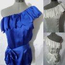 Nwt FASCIA Scalloped Ruffle Blouse top womens SML Blue, White Formal Summer wear