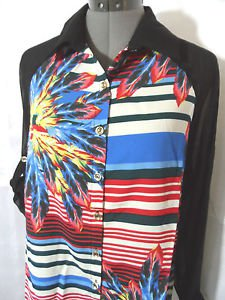 Nwt ANGELA PLUS 4th July Blouse Top women Plus 1XL 3XL Black Chiffon ButtonUp LS