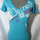 ELEMENT Tee shirt top womens S Blue v neck short sleeve Beach Surf geometric