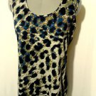 Nwt QUEEN COLLECTION Leopard Print Top women S Blue Brown Fur scoop Satin back