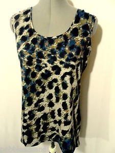 Nwt QUEEN COLLECTION Leopard Print Top women S Blue Brown Fur scoop Satin back