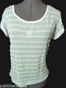 Nwt JOSEPH Q Crochet Top womens Plus 2XL 3XL Mint green Scoop t shirt Beach Tee