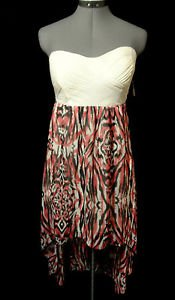 Nwt NOBO Hi-Lo Maxi Dress junior M Ivory texture, Pink Black Chiffon Beach bunny