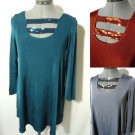 Nwt SLINKY Acetate Tunic top womens XSSM strappy Sequin Ladder Blouse Stretch LS