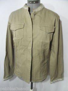 CHICO'S Denim Jacket womens 2 (M/L) Brown Gray Beaded mandarin collar Peasant