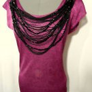 Nwt TRIXI Beaded Fringe Drape top women SML Pink Black metallic Scoop +Low back