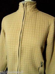 JENNIFER MOORE Baffled Zip up Cardigan Sweater womens PS Khaki Beige sweatshirt