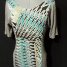 New J.MODE Chevron Panel Tee shirt womens S Gray Teal Brown tunic top Scoop S/S