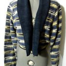 NEW IDENTITY Tapestry Jacket women M Blue White Blanket coat southwest woven L/S