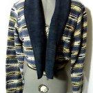 NEW IDENTITY Tapestry Jacket women M Blue White Blanket coat southwest woven L/S