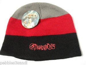 THUNDERCATS Beanie knit Hat 14yr+ Black Gray Red stripe with VINTAGE pin Cartoon