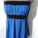 WET SEAL Sequin Empire top Juniors S Royal blue Black tie back Strapless Summer