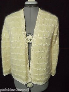 VINTAGE sweater Coat womens S Ivory cream Mohair handmade Evening sweater jacket