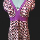 Nwt HOT TEMPERED Vneck Retro Top womens S Pink Purple Babydoll geometric blouse