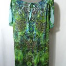 Nwt LIVE&LET LIVE Beach Indie Boho Dress womens S Blue Green le fleur Sheer