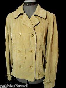 ST. JOHN'S BAY Peacoat Jacket women M Beige Corduroy double breasted Blazer coat