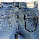 BB JEANS Studded Jean Shorts juniors 3/4 Dark Distressed cut-off Denim urban Hot
