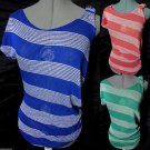 Nwt DE COLORES Sheer Beach Top womens SML Red Blue stripe Tunic tee shirt Spring