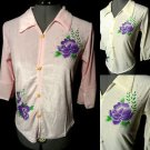 Nwt SHIMMER Floral Glittered Top juniors M L Pink Ivory collared Recital blouse