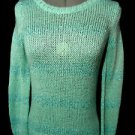 APT.9 Metallic Sequin Sweater Top womens S Sky Blue Sparkle ribbed L/S pullover