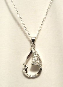 "New OPEN TEARDROP Silver Plated 18"" Necklace & Pendant Set Rhinestone encrusted"