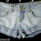 RUE 21 Denim Jean womens 1/2 Hot shorts Light wash Flap pocket Cuffed Beach babe